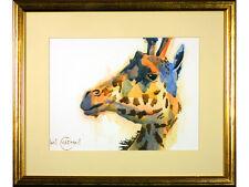 Ian Chapman - 'Giraffe Head' - Watercolour, original framed & signed. Animals