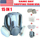 Full Face Gas Mask Painting Spraying Respirator w/Filters Set for 6800 Facepiece