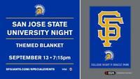 SF GIANTS SAN JOSE STATE UNIVERSITY COLLEGE NIGHT BLANKET 2019 SGA SAN FRANCISCO