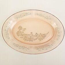 Federal Sharon Cabbage Rose Oval Serving Platter Dish Pink Depression Glass