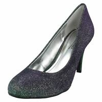 LADIES ANNE MICHELLE SLIP ON HIGH HEEL GLITTER EVENING PARTY COURT SHOES L2R231