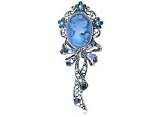 Beautiful Blue Sapphire AB Crystal Cameo Maiden Ribbon Bow Pin Brooch