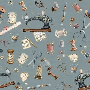 Dekostoff, Digitaldruck, Canvas, Verhees Textiles, Nähutensil., Rauchblau, 135cm