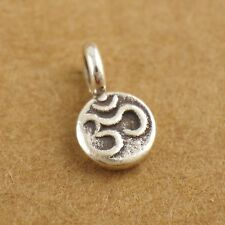 925 Sterling Silver Tiny Om Ohm Namaste Yoga Zen Spacer Bead Charm DIY A2171