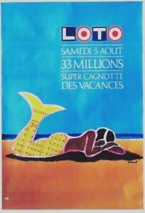 Original vintage poster LOTO FRENCH LOTTERY MERMAID 1989 Villemot