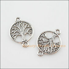8Pcs Tibetan Silver Tone Round Tree Charms Pendants Connectors 20x28mm
