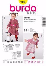 BURDA KIDS SEWING PATTERN Cute dirndl dress short puff sleeves 6M - 3 YRS 9457