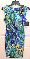 NEW Size 4 Ellen Tracy Women's Sleeveless Sheath Dress Blue Multi W/Pockets