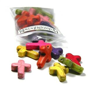 20 Assorted Color Big 1 Inch Magnesite Cross Cracked Stone Pendant Charm Beads