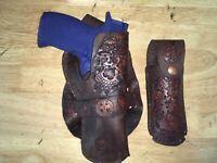 Handmade Leather RH Cross Draw Gun Holster Lg Auto & mag pouch