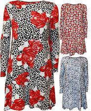 Geblümte Langarm Damenkleider im Tuniken-Stil