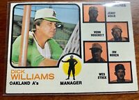 Topps Baseball Card, 1973, Dick Williams, Manager, Oakland A's, Card #179