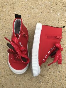 Girls Red Minnie Mouse Boots - Size 7 Kids