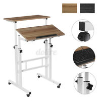 2 Tiers Mobile Sit and Stand Adjustable Office Computer Desk Laptop Table  c