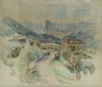 Original ABRAM ADOLPHE MILICH (1884-1964) watercolour painting Sonvico, Lugano