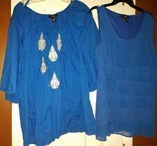 Euc 2 Gorgeous Royal Blue Tops Style & Co. U-knit Woman   Size 2X