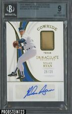 New listing 2019 Immaculate Nolan Ryan Cowhide Patch AUTO HOF 25/25 Rangers BGS 9
