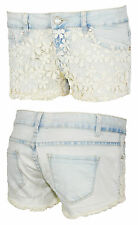 Hot Pants Shorts Damen Jeans Hose Jeansshorts Mini Spitze Häckel Blumen 38 40 42