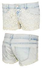 Hot Pants Shorts Damen Jeans Hose Jeansshorts Mini Spitze Häckel Blumen 38 40 42