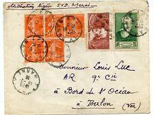 LETTRE ENVELOPPE // AFFRANCHISSEMENT COMPOSE / EPERNAY POUR TOULON 1938