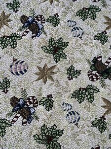 TAPESTRY 50x60 material tablecloth CHRISTMAS mistletoe candy canes gold Sparkle