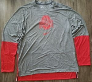 Nike Dri-Fit Ohio State Buckeyes Long Sleeve Shirt Sz XL CQ4966-050
