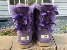 Women's Ugg Bailey Bow 2 Water Resistant Boots Size 6 Purple SN 3280