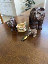 Hand Carved Wood Bears & Fishing Basket -Papa-Mama & Baby Bears