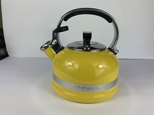 KitchenAid Teapot Kettle Whistling 2 Quart Stainless Steel Cookware - Yellow