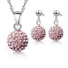 Austrian Pave Disco Ball Earring Pendant Necklace Austria Crystal Jewelry sets