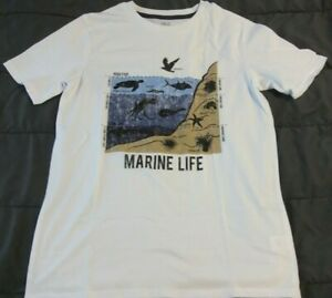 NWT Boys 14/16 MARINE LIFE Tee White Short Sleeve Turtle Crab Starfish High Tide