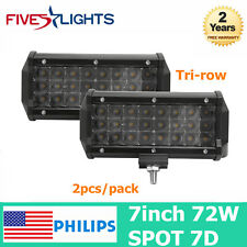 TRI-ROW 7inch 72W PHILIPS LED Work Light Bar Offroad UTE Driving Lamp 4WD 7D 18W
