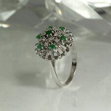 Ring 585/- 14 k. Weißgold Brillanten 0,13ct und Smaragde 0,46ct