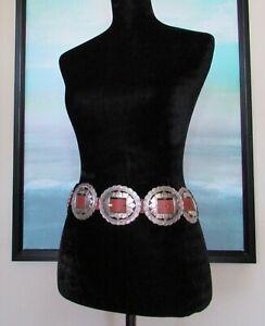 VTG 1993 Brighton Brown Leather Western Concho Belt Sz XL