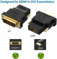 2 Pieces DVI 24+1 to HDMI Adapter Gold-Plated 1080P Male to Female Converter Bla