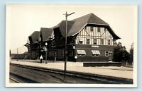 Whitefish, MT - c1930s VIEW OF GREAT NORTHERN TRAIN STATION DEPOT - RPPC - W5