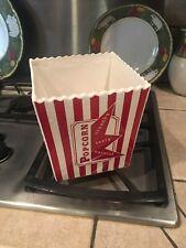 Williams Sonoma Ceramic Popcorn Bowl Bucket Bag Large Red White Striped EUC