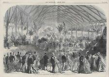 ANTIQUE 1864 PRINT INTERNATIONAL HORTICULTURAL EXHIBITION SOUTH KENSINGTON d19