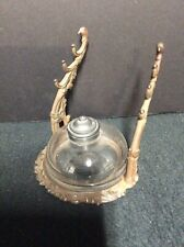 Antique Blown Glass Inkwell with Iron Pen Holder Stand