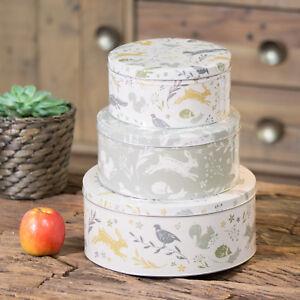 Set of 3 Woodland Animals Round Cake Storage Sweet Tins Carriers Caddies Biscuit