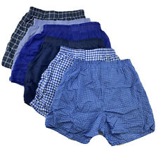 Fruit of the Loom Boys Woven Blue Plaid Woven Boxer Shorts Large 6-Pack (14-16)