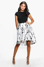 522ddb86462e Boohoo Boutique Jay Sateen Printed Skirt Skater Dress Size XL Lf079 GG 04