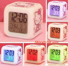Home Bedroom Child 7 Color LED Change Digital Glowing Alarm Clock hello kitty