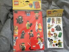 Nip Lego Minifigure Wrapping Paper & 4 Gift Tag Set And stickers 853216 853355