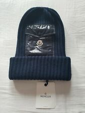 BRAND NEW MONCLER KNITTED FRONT DETAIL OVER SIZED BEANIE CAP NAVY