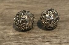 BALI 925 SILVER 13 x 12mm ROUND ORNATE FOCAL BEAD #1051 - (1 bead)
