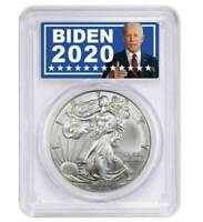 2020 American Silver Eagle PCGS MS70 in Joe Biden For President Label