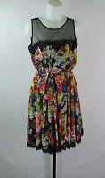Betsey Johnson Black/Multi Floral  Dress Women's Size 8