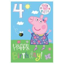Peppa Pig Age 4/4th Birthday Card With Badge