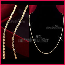 18K YELLOW GOLD FILLED MENS WOMEN SOLID 3MM ROPE CHAIN NECKLACE 55cm for Pendant